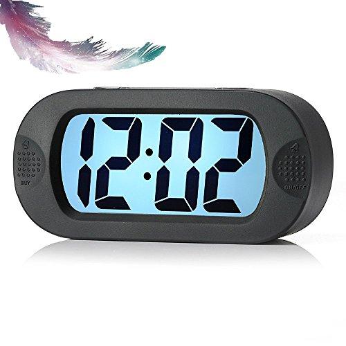 feifuns Silikon-Digitalwecker, elektronische Smart-Wecker Silent Bedside Clock Travel Battery Clock mit großem LCD-Display Kinderwecker mit Snooze Night Light, Schwarz