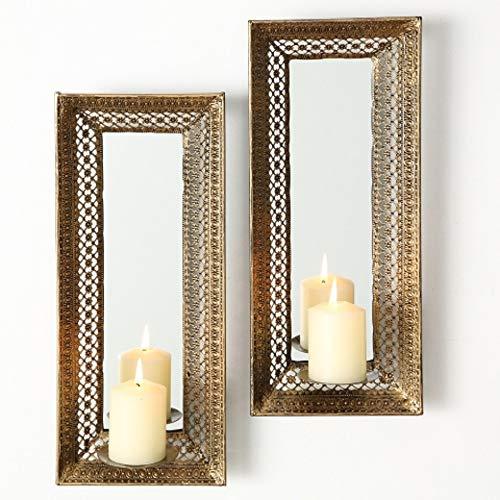 Home Collection Metall Leuchter Wandkerzenleuchter mit Spiegel 2er Set antikgold H42cm -