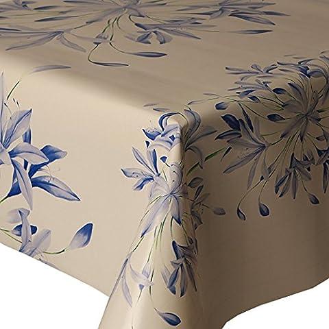 PVC Tablecloth Blue Floral Border 4 Metres (400cm x 140cm), Pretty Flower Petals, Green Off White Cream, Wipe Clean, Vinyl / Plastic Table