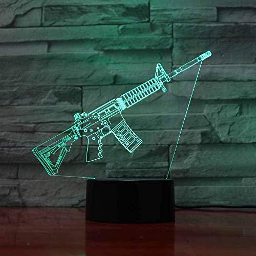 Kreative 3D Pistole Nacht Licht 7 Farben Andern Sich USB Adapter Touch Schalter Dekor Lampe Optische Täuschung Lampe LED Lampe Tisch Kinder Brithday Weihnachten Geschenke