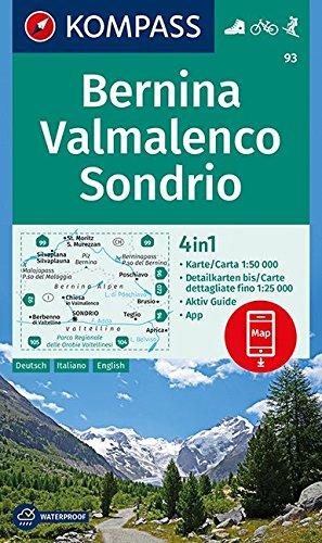 Bernina, Valmalenco, Sondrio 1:50 000: 4in1 Wanderkarte 1:50000 mit Aktiv Guide und Detailkarten inklusive Karte zur offline Verwendung in der KOMPASS-App. Fahrradfahren. Skitouren.