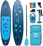 WOWSEA Waterdrop Aufblasbares Stand Up Paddle Board | 305cm L x 80cm W x 15cm H | Langlebiges und Stabiles Freizeit Paddel SUP | Touren & Yoga iSUP | Blau