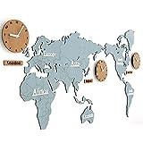 HCC& Horloge Murale Bricolage Carte du Monde Grand Moderne en Bois Quartz Horloge 3D...