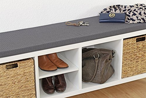 Ikea Kallax Regal Sitzauflage 146 x 39 x 4 cm Sitzpolster Sitzbank-Auflage Sitzkissen / Auflage für Sideboard als Sitzbank / unempfindlicher Bezug / Farbe GRAU ANTHRAZIT