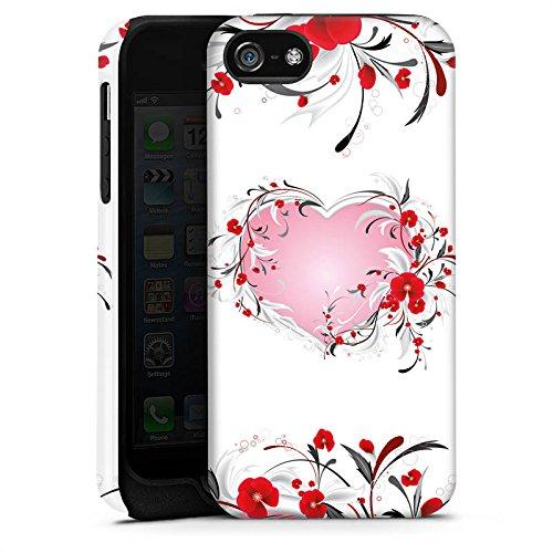 Apple iPhone 5 Housse Étui Silicone Coque Protection Amour Amour C½ur Heart Cas Tough terne