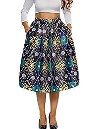 La Vogue Midi Jupe Plissé Femme Imprimé Floral Taille Haute Vintage