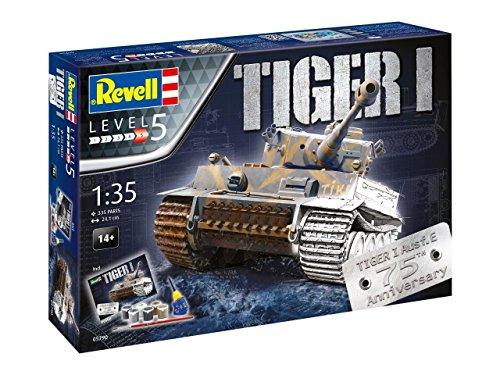 Revell 05790 - Modellbausatz Panzer 1:35 - Geschenkset 75 Jahre Tiger I im Maßstab 1:35, Level 5, Orginalgetreue Nachbildung mit vielen Details -