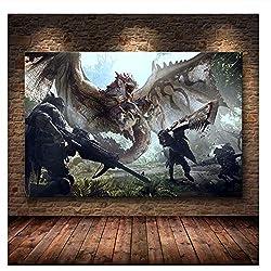 nr Die Poster Dekoration Gemälde von Monster Hunter World auf HD Leinwand Leinwand Gemälde Kunst Poster und Drucke Druck auf Leinwand -60x90cm No Frame