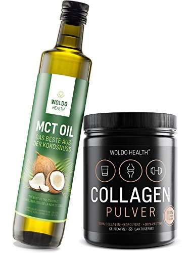 Collagen Protein-Pulver & MCT-Öl aus Kokosöl Superfood-Set - 500g Kollagen und MCT-Oil ideal für Smoothies oder Bulletproof Coffee