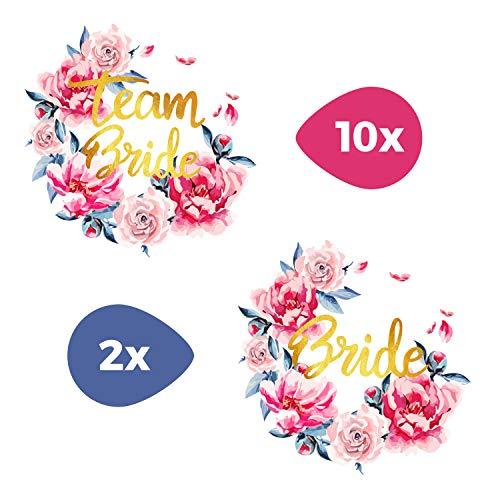 Tattoocrew® 12 x Team Bride Braut Tattoos JGA Watercolor Blumen zum Aufkleben (Braut Kostüm Make Up)