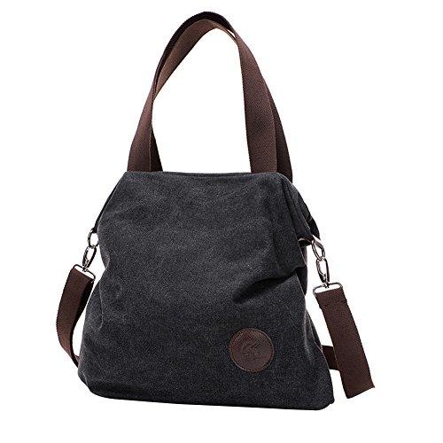 PB-SOAR Damen Canvas Tasche Schultertasche Handtasche Umhängetasche Shopper Beuteltasche 41x36x10cm (B x H x T), 5 Farben auswählbar (Braun) Schwarz
