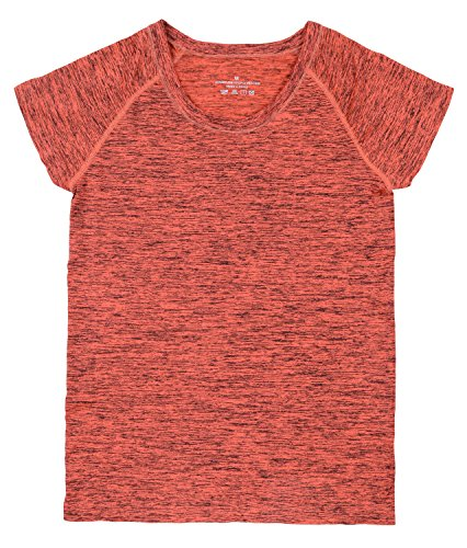 HonourSport-T-shirt Femme Sportif et Yoga Manches Courtes Orange