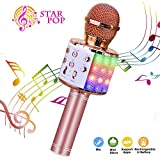Wireless Karaoke Microphone, ShinePick 4 in 1 Bluetooth Dancing LED Lights Handheld Portable