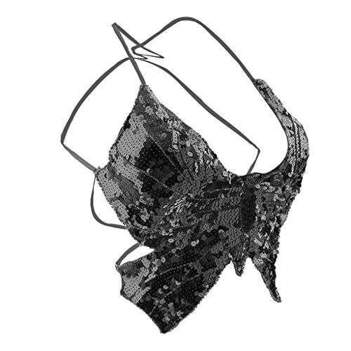 Phenovo Belly Dance Butterfly Top Bra Sexy Dancing Costume Stunning Black