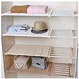 APSOONSELL allungabile regolabile Storage rack scaffale per cucina armadio frigorifero armadio libreria, White3, Width 30cm Length 73-130cm
