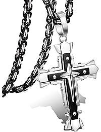 Besteel 5MM Acero Inoxidable Collar Cruz para Hombre Mujer Cadena Bizantina Colgante Cruz Collar Rock, 56-71CM