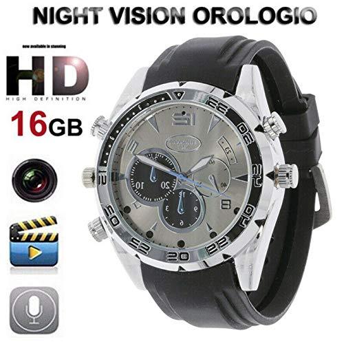 Telecamera Spia Orologio, Telecamera nascosta orologio da polso impermeabile Videocamera Registratore con Orologio intelligente HD 1080P telecamera notturna di visione notturna a raggi infrarossi 16GB