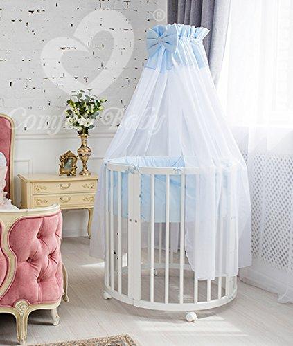 ComfortBaby ® erweiterbares Babybett Kinderbett SmartGrow 7in1 aus MASSIVHOLZ in weiss - multifunktional nutzbar als Laufstall, Beistellbett, Minibett, Stuhl und Tisch Kombination (blau) HERGESTELLT IN DER EU