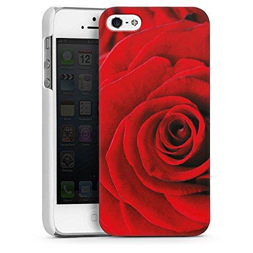Apple iPhone 5s Housse Étui Protection Coque Rouge Roses Roses CasDur blanc