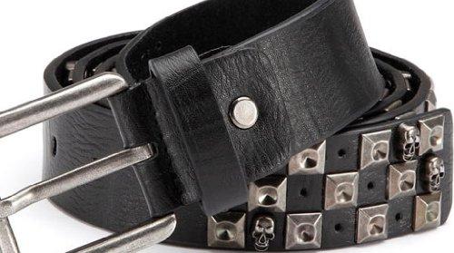 Cintura borchiata con rivetti cranio, cinghia di cuoio dei jeans cintura con PU, punk gothic metal rave