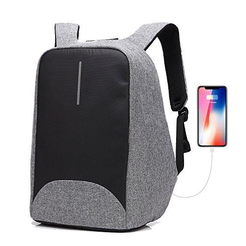 Sac à dos pour ordinateur portable/GENOLD Sac Antivol pour 15.6 pouces avec port de charge USB,Sac Imperméable pour loisir/affaires,homme/femme- Gris