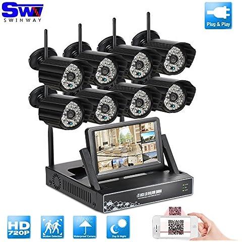 ANRAN 8ch 720p inalámbrica Wifi NVR Kit sistema de seguridad Inicio vigilancia con monitor de 7