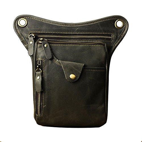 Genda 2Archer Utility Cross Over Tasche Leder Taille Bein Tasche (Braun 4) Dunkel GrauBraun