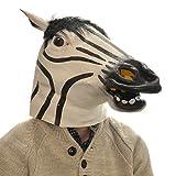 Latex Full Head Overhead Goofy Zebra Funny Animal Cosplay Halloween Fancy Mask