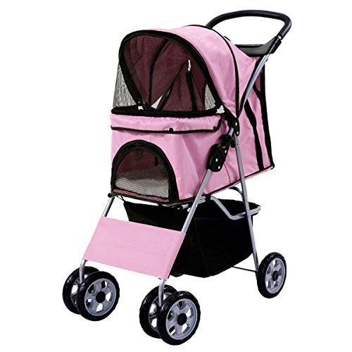 Hundewagen Hundebuggy Hunde Haustier Pet Stroller Buggy Roadster Transportwagen mit Einkaufstasche Sonnendach (rosa)