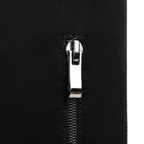 AgooLar Damen Rund Zehe Blend-Materialien Hoher Absatz Reißverschluss Stiefel Schwarz-Anhänger
