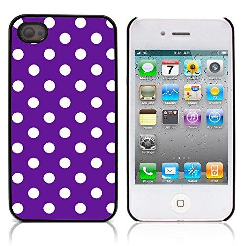 Graphic4You Polka Punkt Dots Muster Design Harte Hülle Case Tasche Schutzhülle für Apple iPhone 4 und 4S (Rot) Lila