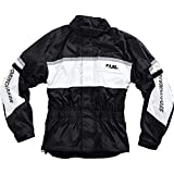 FLM Motorradjacke Regenjacke Sports Membran Regenjacke 1.0, Klimamembran, Verbindungsreißverschluss, wasserdicht, winddicht, atmungsaktiv, integrierte Helmkapuze, Weiß, XXL / 2XL