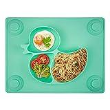 Baby Teller, Silikon Rutschfester Baby Tischset für Baby Kleinkind und Kinder,kinderteller passend für die meisten Hochstuhl-Tabletts-26 x 20 x 3 cm Grün