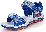 Garçon Été Sandales de Marche Extérieur Plates Souple Semelle Velcro Chaussures Sport Tongs Antidérapant(Bleu EU32)