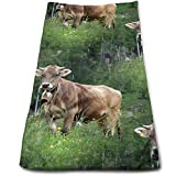 vintage cap Real Swiss Cow Brown Multi-Purpose Microfiber Towel Ultra Compact Super Absorbent and Fast Drying Sports Towel Travel Towel Beach Towel Perfect for Camping, Gym, Swimming.