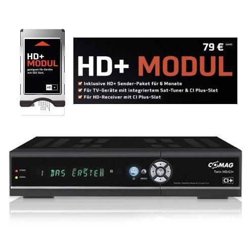 COMAG TWIN HD/CI+ 1TB HD+ Komplettset inkl. SmarDTV CI+ Modul mit HD+ Karte für 6 Monate HD+ (digitaler Satelliten Receiver Twin-Tuner HDTV mit 1000 GB (1TB) Festplatte, CI+, HDMI, USB 2.0, PVRready, 1080p (Senderabhängig), 1080i, 720p, 576p, schwarz)