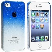 SODIAL(R) Funda Carcasa para Apple iPhone 4/4S, Diseno de Gota de Agua - Azul Oscuro