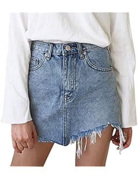 d774a3777d Vaqueras Faldas Mujer Elegante Verano Asimetricas Borlas Denim Minifalda  Casual Moda Street Style Falda