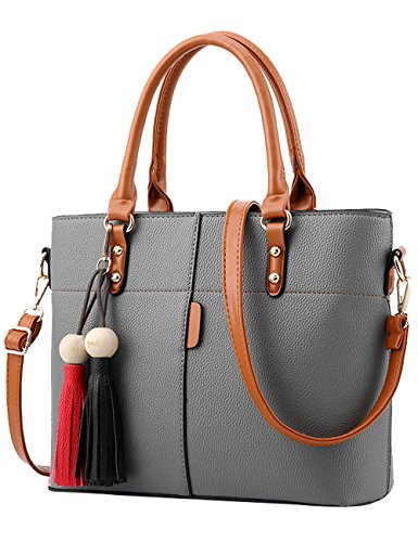 Menschwear Ladies Pu Borse Ladies Handbag Black Handbag School Ladies Borse Grigio Grigio