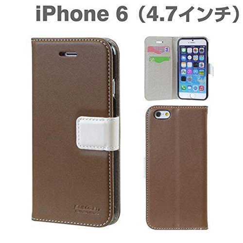 SOLOZEN Two Tone Diary ID Credit Card PU Leather Wallet Case for iPhone 6 / iPhone 6s - Verizon, AT&T, T-Mobile, Sprint, International, and Unlocked - Apple New iPhone 6 / iPhone 6s Case 6 2014 Model  Dark Brown × White