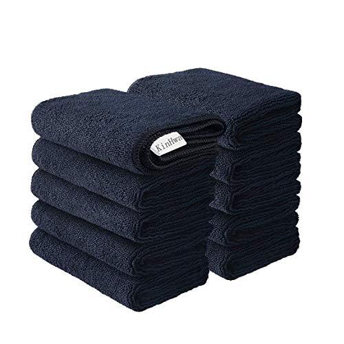 KinHwa Mikrofasertücher Haushalts handtücher Super saugfähig Geschirrtücher Mehrzweck 30cm x 30cm 10 Stück Schwarz