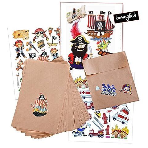 Jungen-Set: 25 braune kleine Geschenk-Tüten-Mitgebsel Kindergeburtstag (13 x 18 + 2 cm Lasche) mit 3 Aufkleber-Bögen mit Feurwehr- und Piraten-Motive, teilweise beweglich!; als Geschenk, Mitgebsel oder Tischdekoration für Geburtstag, Party etc.