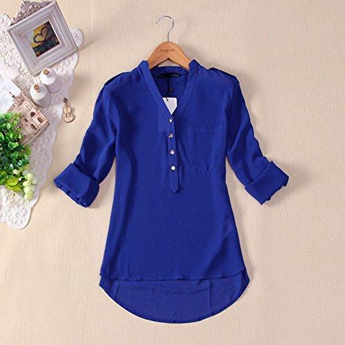 Smile YKK Damen V Ausschnitt Langärmelig Schluppenbluse T-Shirt Sweatshirt Oberteil Tunika Blau