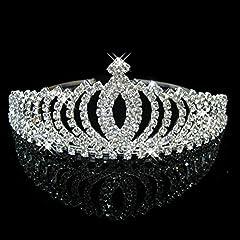 Idea Regalo - WINOMO Strass cristallo nuziale corona archetto Tiara cerchietto per festa di nozze (argento)