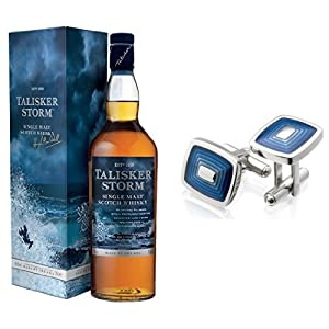 Talisker Storm Single Malt Scotch Whisky and Miore Stainless Steel Blue Cufflinks