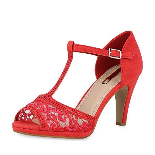 SCARPE VITA Damen Pumps Sandaletten Party Riemchensandaletten Spitze Strass T-Strap Schuhe Elegante Abendschuhe 159535 Rot Spitze 39