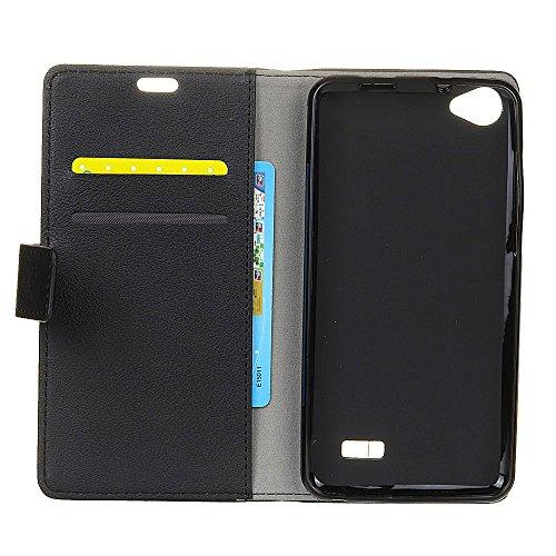 COVO® Acer Liquid Z6E Kunstleder Brieftasche Hülle für Acer Liquid Z6E mit Stand Funktion (Schwarz)