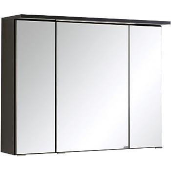 """3D-Spiegelschrank Spiegel Badspiegel Badhängeschrank Bad /""""Delhi I/"""" graphit 80 cm"""