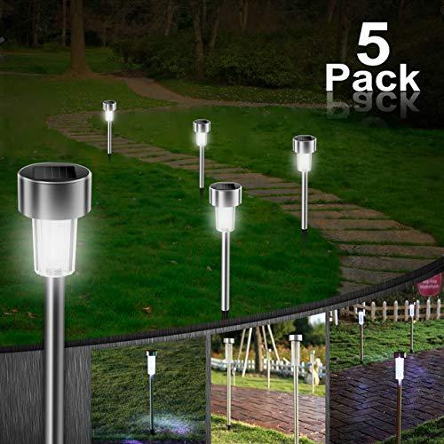 5 Stück Solarleuchte Garten, Vivibel Weiß LED Solarlampe, Solar Gartenleuchte IP44 Wasserdichte Solarlampe für Außen Energiesparende Ideal für Terrasse, Rasen, Garten Hofwege und Wege