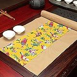 FeiFei156 Baumwolle Und Hanf Tisch Flagge Tee Tuch Tee Matte Handgemachte Zen Tischdecke Doppelseitige Teematte Pflaume gelb (Gelb) 150 x 40cm